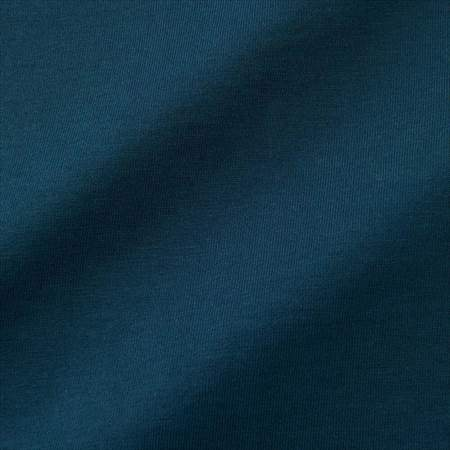 ユニクロUのスーピマコットンTシャツ(半袖)のブルーの生地のアップ