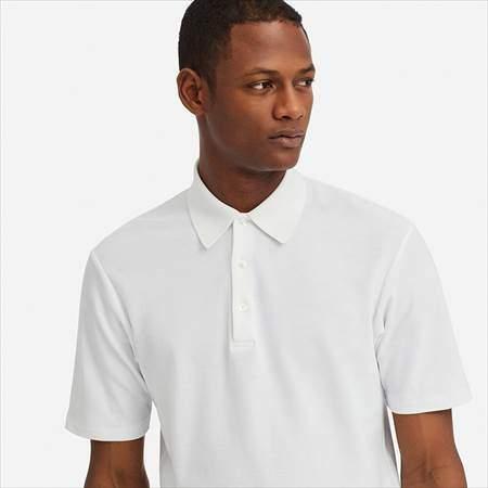 ユニクロUのスーピマコットンポロシャツ(半袖)の襟もとのアップ
