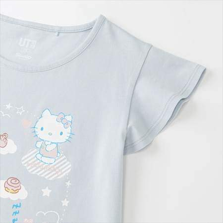 GIRLS サンリオキャラクターズグラフィックT(半袖)のライトブルー