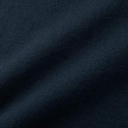 ユニクロUのコットンカシミヤニットシャツ(長袖)の生地のアップ
