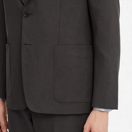 ユニクロUのテーラードジャケットのサイドポケットと裾のアップ
