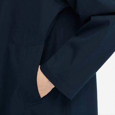 ユニクロUのブロックテックステンカラーコートのサイドポケットのアップ