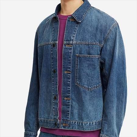 ユニクロUのデニムジャケットのフロント裾のアップ
