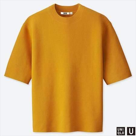 ユニクロUのミラノリブクルーネックセーター(半袖)のイエロー