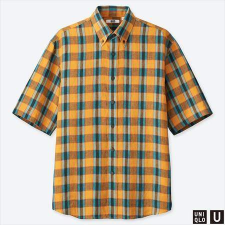 ユニクロUのプレミアムリネンワイドフィットチェックシャツ(半袖)のイエロー