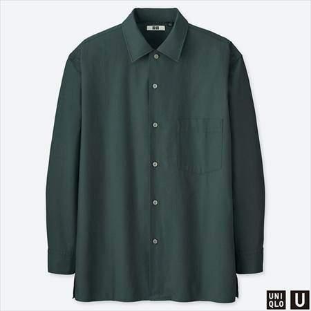 ユニクロUのワイドフィットシャツ(長袖)のブルー