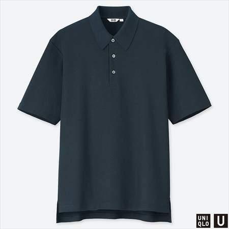 ユニクロUのスーピマコットンポロシャツ(半袖)のネイビー