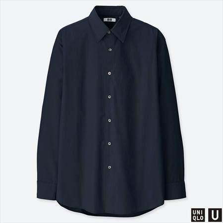 ユニクロUのエクストラファインコットンブロードシャツ(長袖)のネイビー