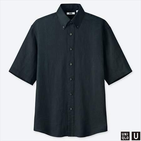 ユニクロUのプレミアムリネンワイドフィットシャツ(半袖)のネイビー
