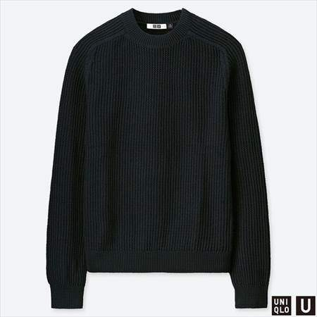 ユニクロUのコットンカシミヤクルーネックセーター(長袖)のブラック