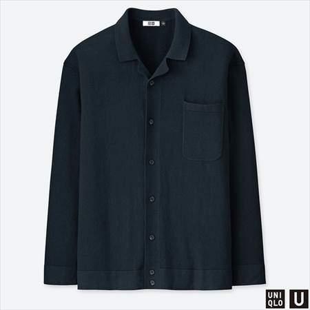 ユニクロUのコットンカシミヤニットシャツ(長袖)のネイビー