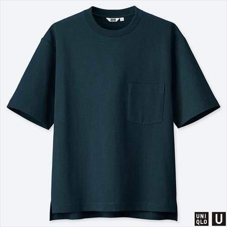 ユニクロUのオーバーサイズクルーネックT(半袖)のネイビー