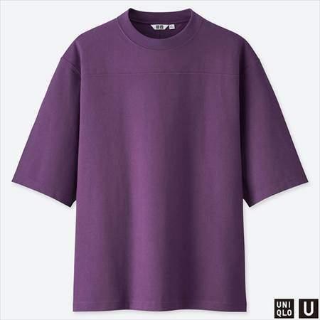 ユニクロUのオーバーサイズハーフスリーブTシャツのパープル