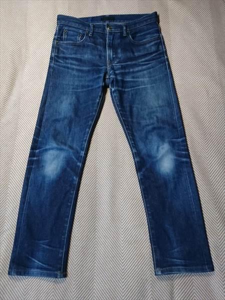 ユニクロのセルビッジジーンズを1年半履いた状態の全体の前側