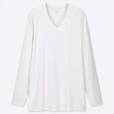 ユニクロのエアリズムVネックT(長袖)のホワイト