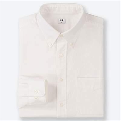 ユニクロのオックスフォードシャツ(ボタンダウン・長袖)のオフホワイト