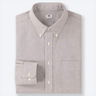 ユニクロのオックスフォードシャツ(ボタンダウン・長袖)のグレー