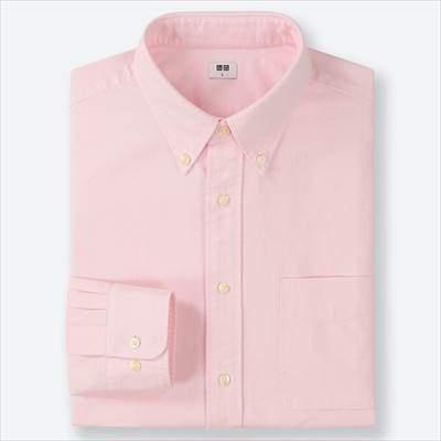 ユニクロのオックスフォードシャツ(ボタンダウン・長袖)のピンク
