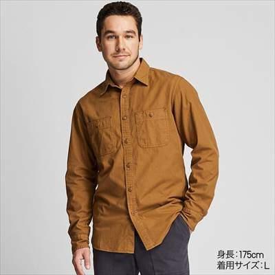 ユニクロのウォッシュワークシャツ(長袖)