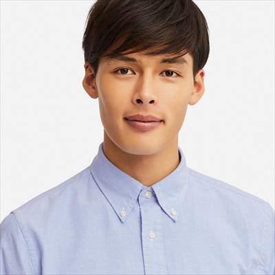 ユニクロのオックスフォードシャツ(ボタンダウン・長袖)の襟元