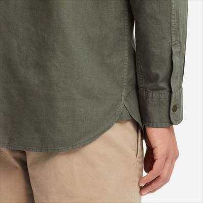 ユニクロのワークシャツ(長袖)の袖と裾のアップ