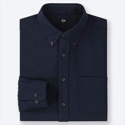 ユニクロのオックスフォードシャツ(ボタンダウン・長袖)の68ブルー