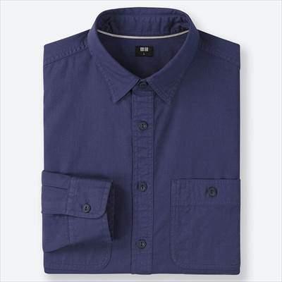 ユニクロのワークシャツ(長袖)のブルー