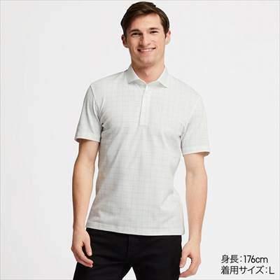 ユニクロのチェック柄のエアリズムポロシャツ(半袖)