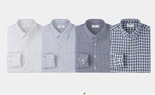 ユニクロのプレミアムリネンシャツ(長袖)のストライプ柄とチェック柄