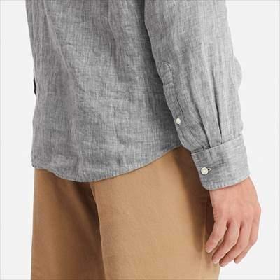 ユニクロのプレミアムリネンシャツ(長袖)の丈の長さ
