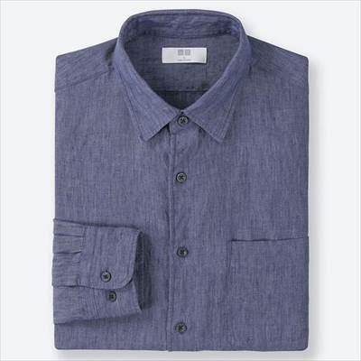 ユニクロのプレミアムリネンシャツ(長袖)の66ブルー