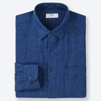 ユニクロのプレミアムリネンシャツ(長袖)の68ブルー