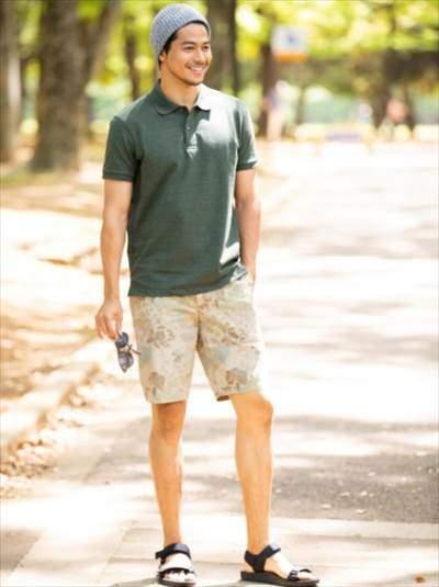 ユニクロのドライカノコポロシャツのコーディネート例
