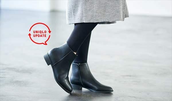 ユニクロのサイドジップショートブーツ(レディース)を履いている女性
