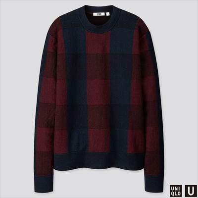 2019秋冬ユニクロUのチェッククルーネックセーター(長袖)