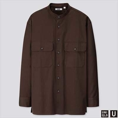 2019秋冬ユニクロUのワイドフィットスタンドカラーシャツ(長袖)