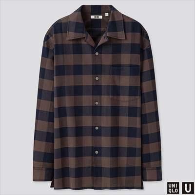 2019秋冬ユニクロUのワイドフィットフランネルチェックシャツ(長袖)