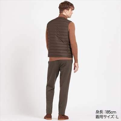ユニクロのウルトラライトダウンコンパクトベストを着ている男性