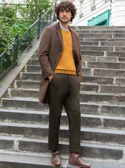 ユニクロのカシミヤクルーネックセーター(長袖)のコーディネート例