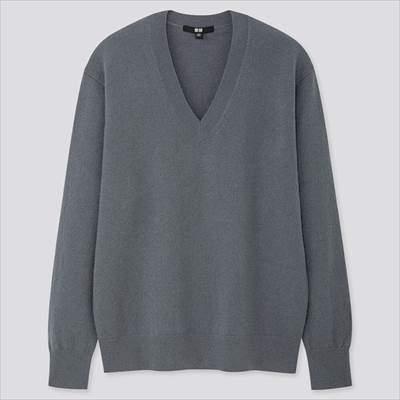 レディースのユニクロのカシミヤVネックセーター(長袖)