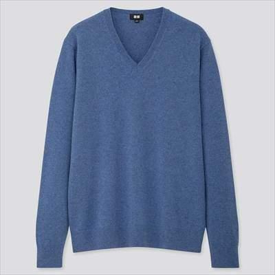 メンズのユニクロのカシミヤVネックセーター(長袖)