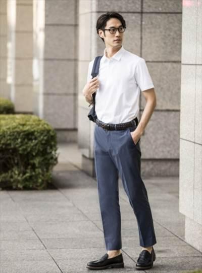 ユニクロのエアリズムジャージーポロシャツ(半袖)のコーディネート