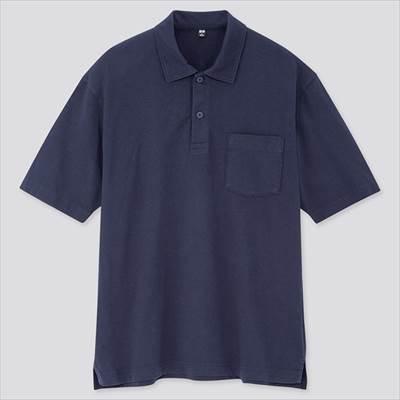 ユニクロのオーバーサイズジャージーポロシャツ(半袖)の胸ポケット