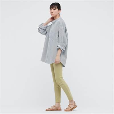 ユニクロのヒッコリーオーバーサイズスタンドカラーシャツ(長袖)
